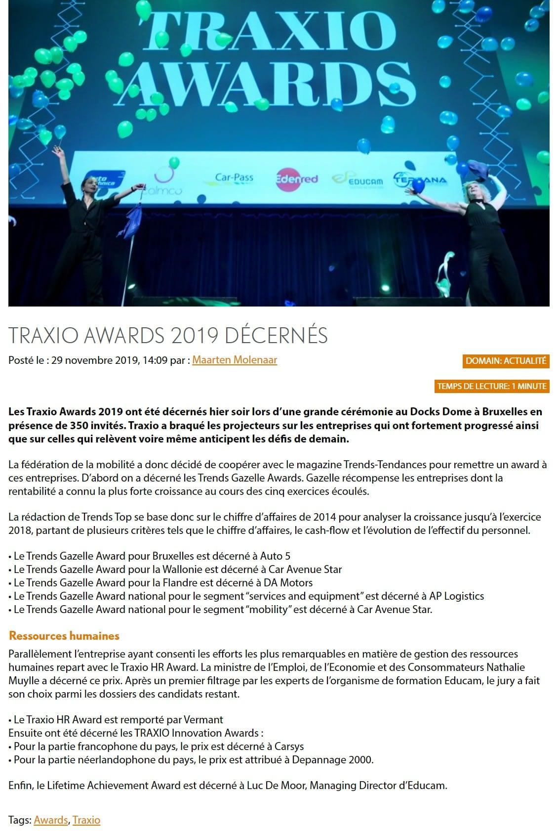 Traxio Awards 2019 décernés