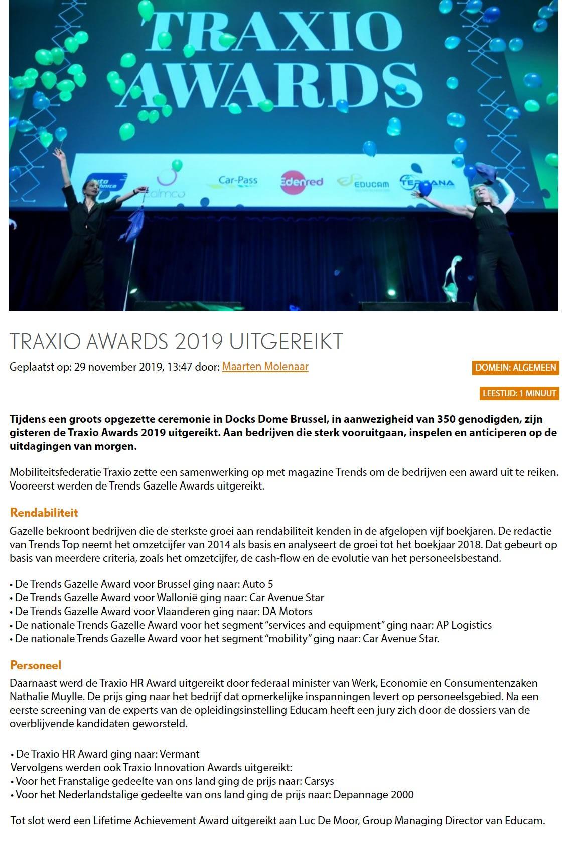 Traxio Awards 2019 uitgereikt